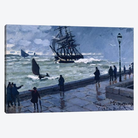 The Jetty at Le Havre, Bad Weather, 1870 Canvas Print #BMN4421} by Claude Monet Canvas Wall Art