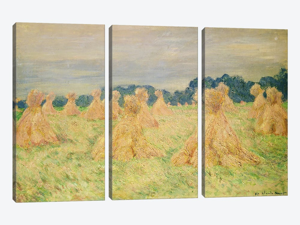 The Small Haystacks, 1887 by Claude Monet 3-piece Canvas Art Print