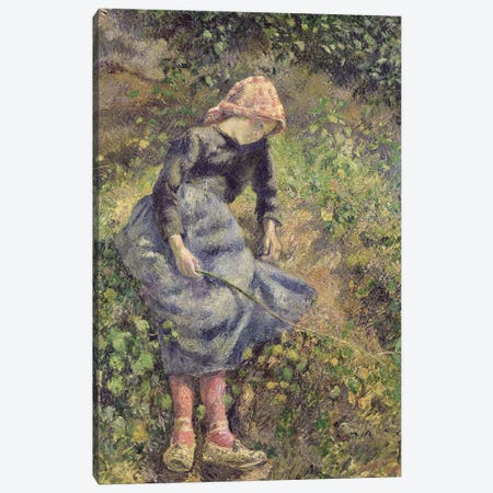 Girl with a Stick, 1881  Canvas Print #BMN442} by Camille Pissarro Canvas Artwork