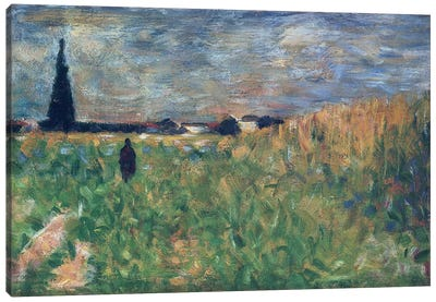 Fields in Summer by Georges Seurat Canvas Art Print