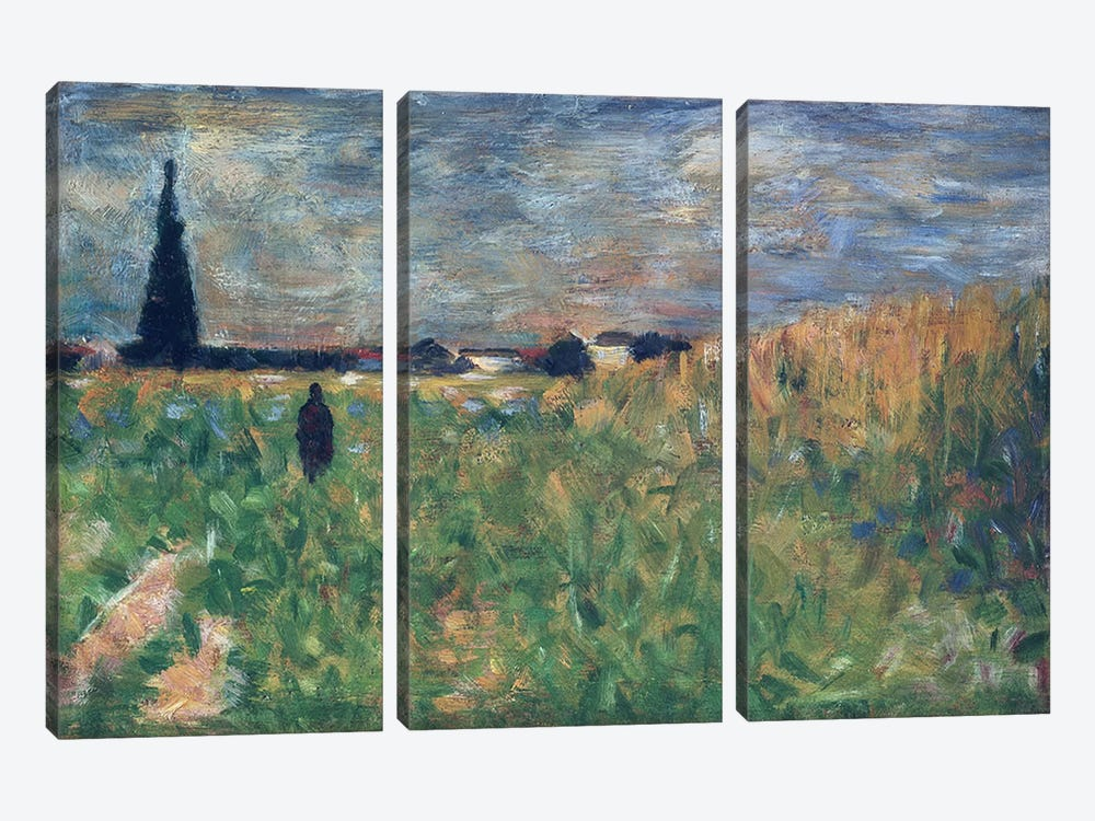 Fields in Summer by Georges Seurat 3-piece Canvas Print