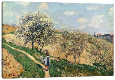 Springtime at Bougival  Canvas Art Print