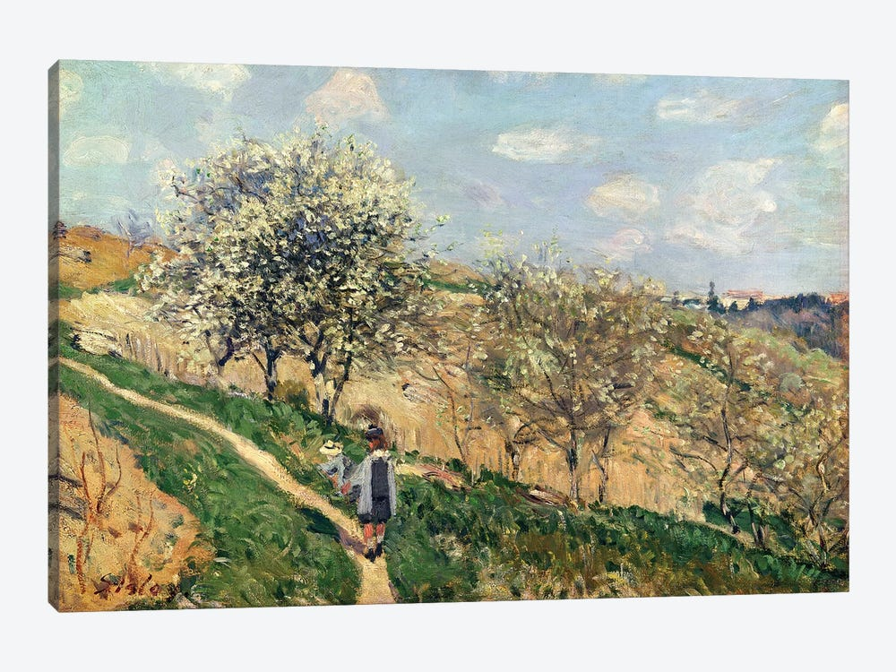 Springtime at Bougival  by Alfred Sisley 1-piece Canvas Art