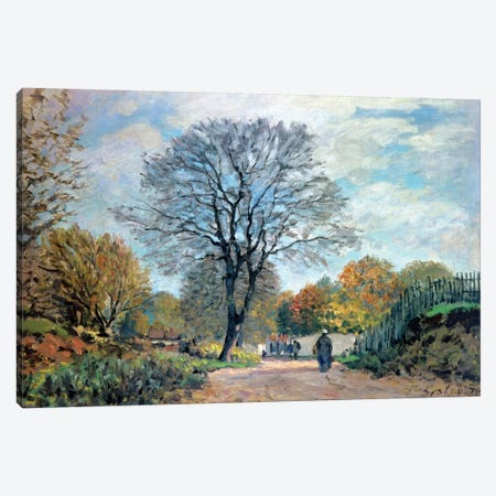 A Road in Seine-et-Marne, 1878 3-Piece Canvas #BMN4434} by Alfred Sisley Canvas Art