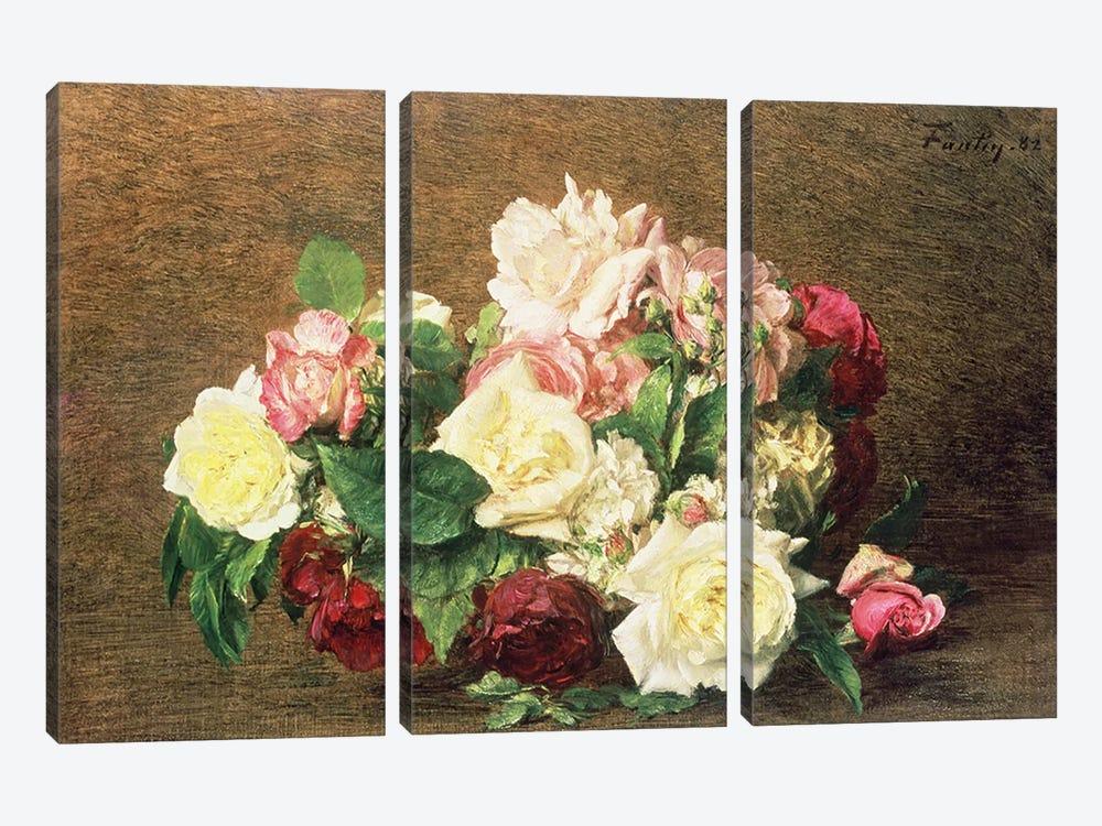 Roses by Ignace Henri Jean Theodore Fantin-Latour 3-piece Art Print