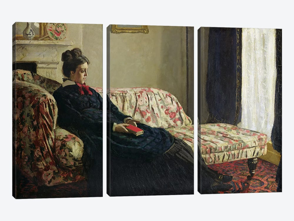 Meditation, or Madame Monet on the Sofa, c.1871  by Claude Monet 3-piece Canvas Art Print