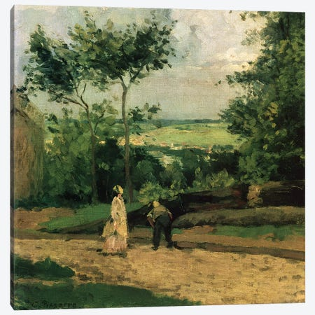 The Courtyard at Louveciennes 3-Piece Canvas #BMN4441} by Camille Pissarro Canvas Artwork