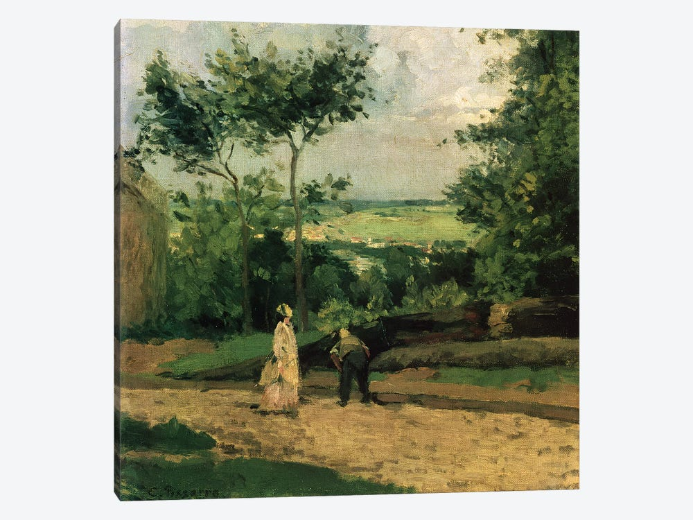 The Courtyard at Louveciennes by Camille Pissarro 1-piece Art Print