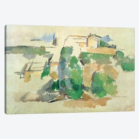 House on a hill close to Aix en Provence 3-Piece Canvas #BMN4443} by Paul Cezanne Canvas Art