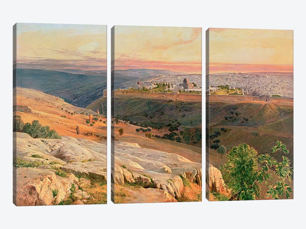 Jerusalem from the Mount of Olives, 1859 by Edward Lear 3-piece Art Print