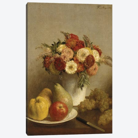 Flowers and Fruit, 1865  Canvas Print #BMN444} by Ignace Henri Jean Theodore Fantin-Latour Art Print