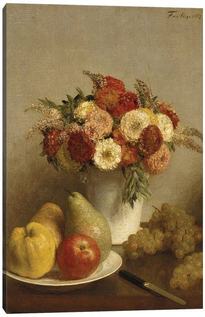 Flowers and Fruit, 1865  Canvas Art Print