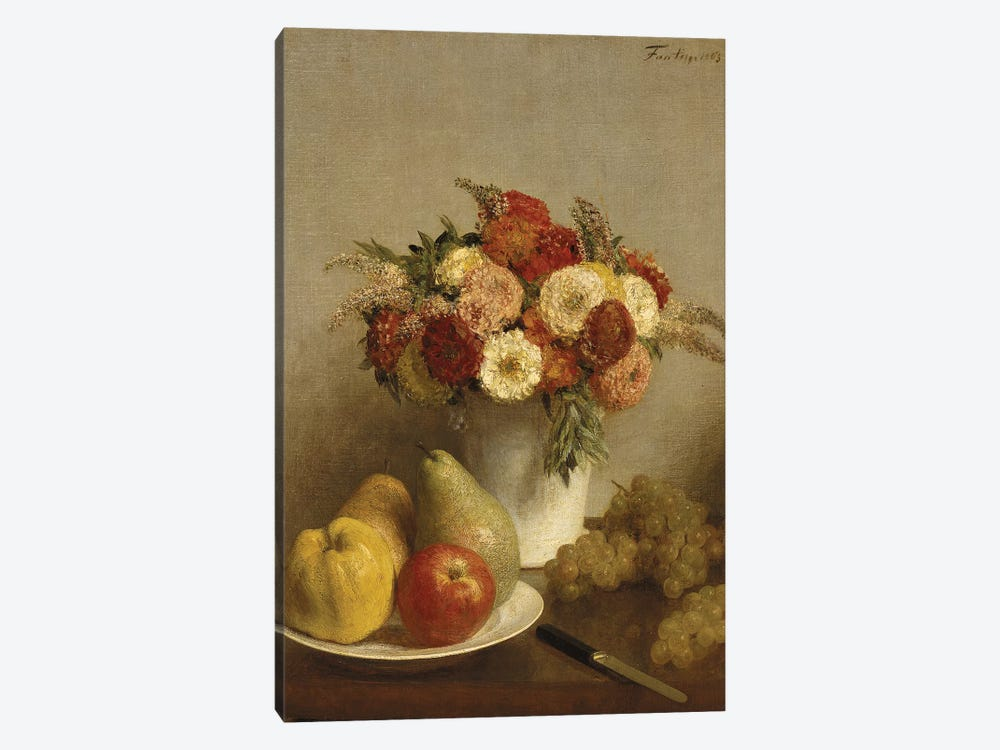 Flowers and Fruit, 1865  by Ignace Henri Jean Theodore Fantin-Latour 1-piece Canvas Artwork