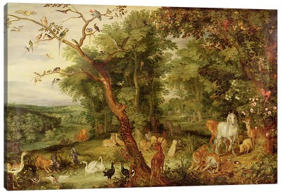 The Garden of Eden; in the background The Temptation  Canvas Art Print