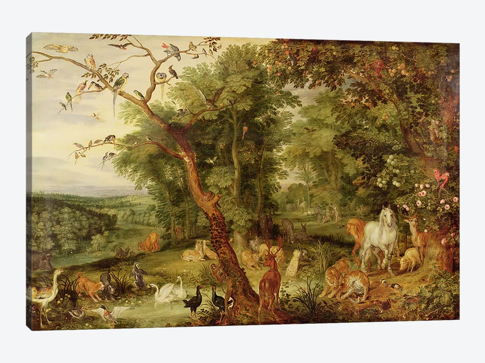 The Garden of Eden; in the background The Temptation by Jan Brueghel the Elder 1-piece Art Print