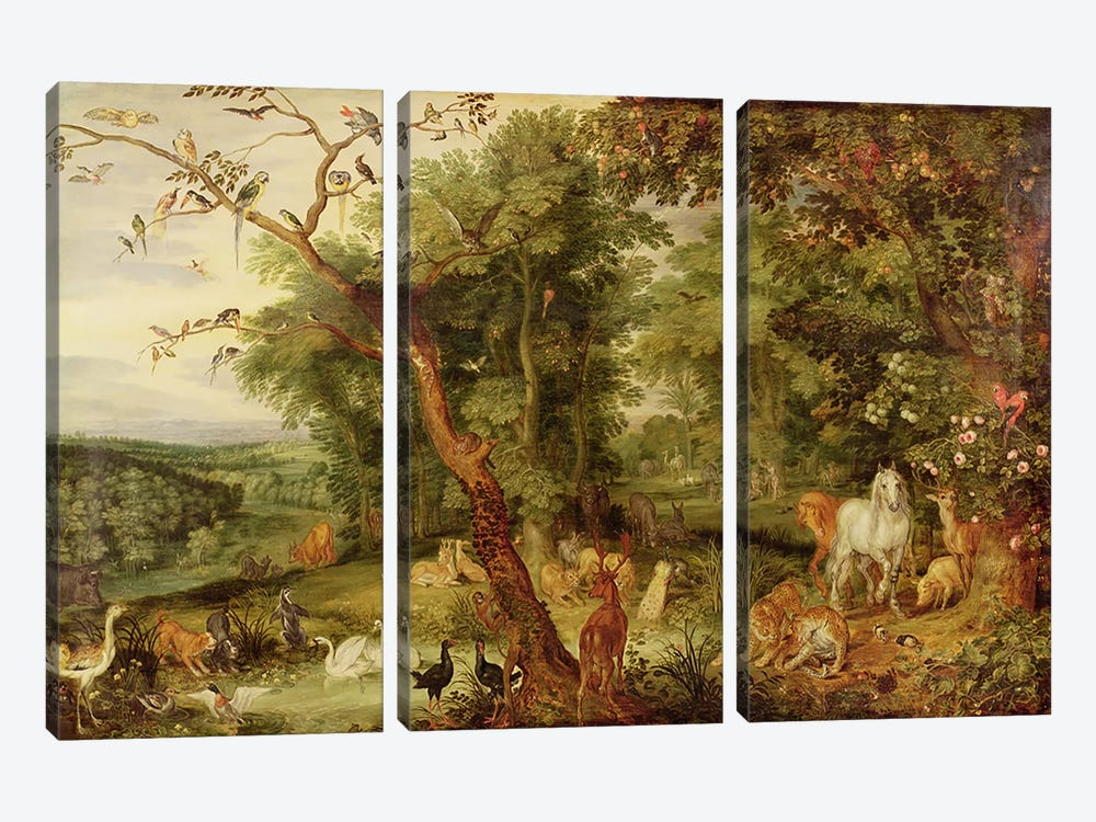 The Garden of Eden; in the background The Temptation 3-piece Art Print