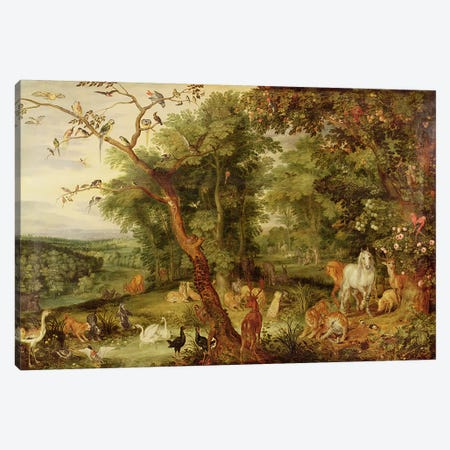 The Garden of Eden; in the background The Temptation  Canvas Print #BMN4450} by Jan Brueghel the Elder Art Print