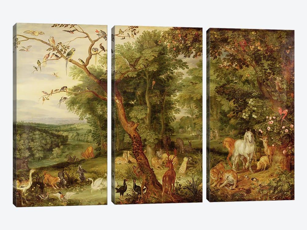 The Garden of Eden; in the background The Temptation  by Jan Brueghel the Elder 3-piece Art Print