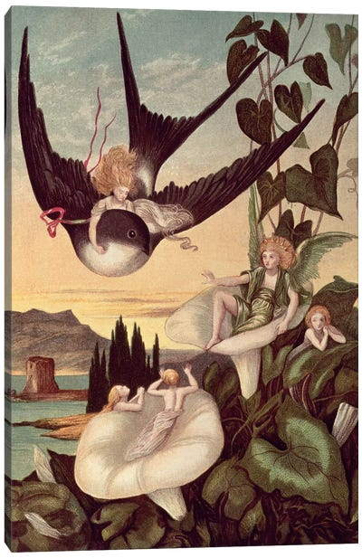 Illustration to 'Thumbkinetta', by Hans Christian Andersen  Canvas Art Print