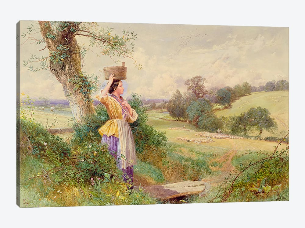 The Milkmaid, 1860 by Myles Birket Foster 1-piece Canvas Wall Art