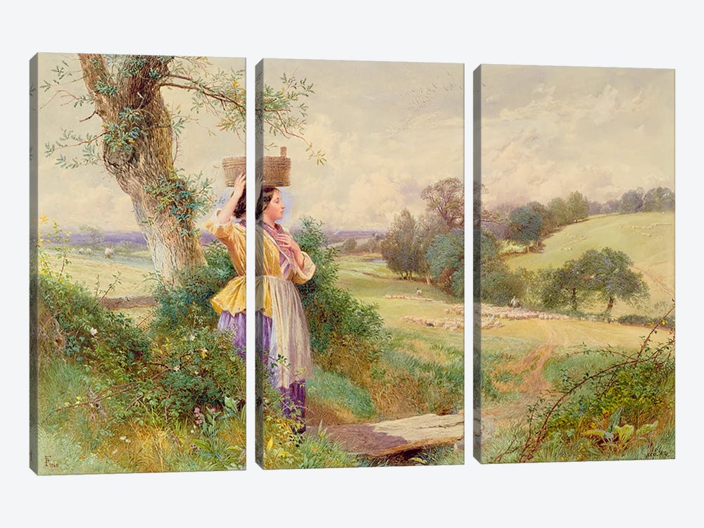 The Milkmaid, 1860  by Myles Birket Foster 3-piece Canvas Wall Art