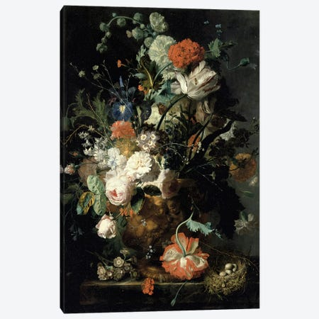Roses, Flowers, Carnations Canvas Print #BMN4457} by Jan van Huysum Canvas Wall Art