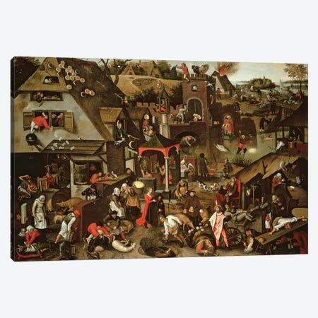 Netherlandish Proverbs illustrated in a village landscape Canvas Print #BMN4458} by Pieter Brueghel the Younger Art Print