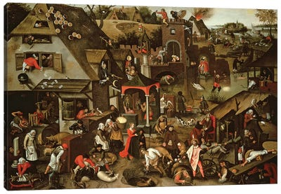 Netherlandish Proverbs illustrated in a village landscape Canvas Art Print