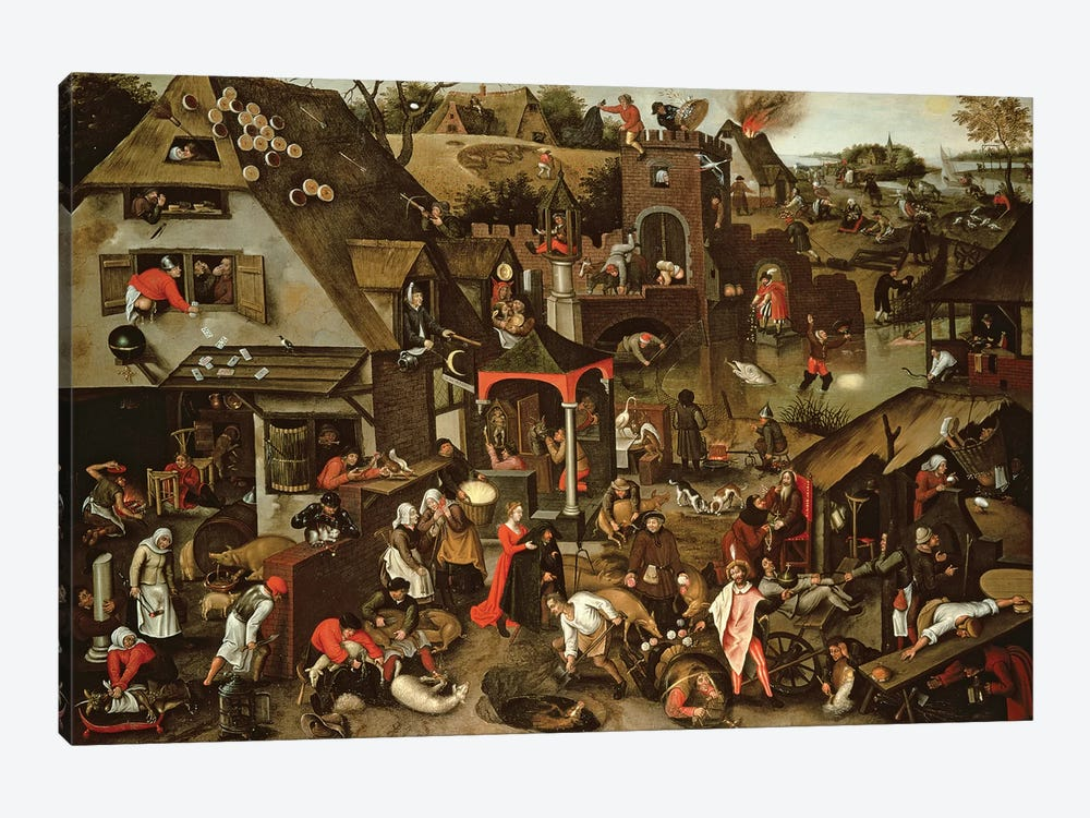 Netherlandish Proverbs illustrated in a village landscape by Pieter Brueghel the Younger 1-piece Canvas Print