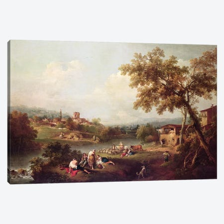 An Extensive River Landscape with a Village  Canvas Print #BMN4459} by Francesco Zuccarelli Canvas Print