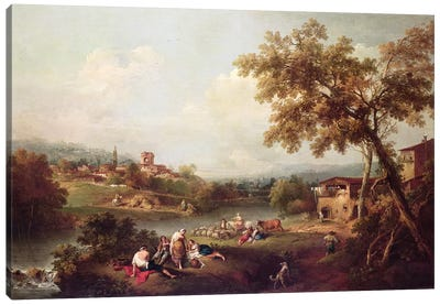 An Extensive River Landscape with a Village  Canvas Art Print