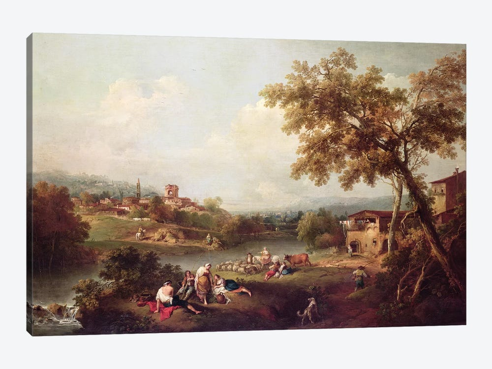 An Extensive River Landscape with a Village  by Francesco Zuccarelli 1-piece Canvas Wall Art
