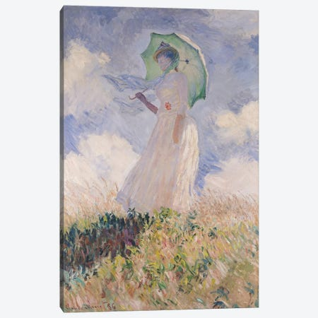 Woman with Parasol turned to the Left, 1886  Canvas Print #BMN445} by Claude Monet Canvas Art Print
