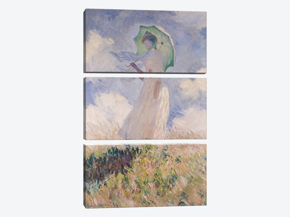 Woman with Parasol turned to the Left, 1886  by Claude Monet 3-piece Art Print