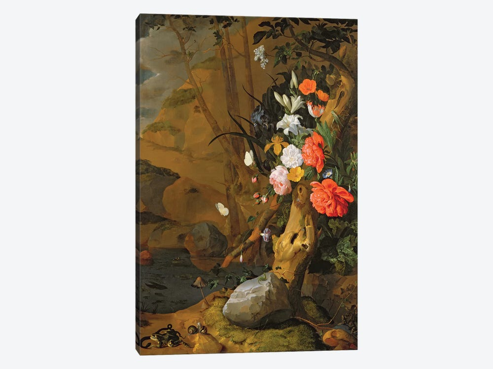 Peonies, Roses, Lilies, Poppies And Other Flowers by Rachel Ruysch 1-piece Canvas Art Print