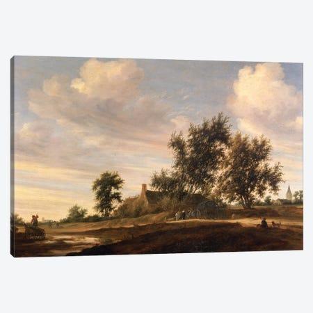 Extensive wooded landscape  Canvas Print #BMN4463} by Salomon van Ruysdael Canvas Artwork