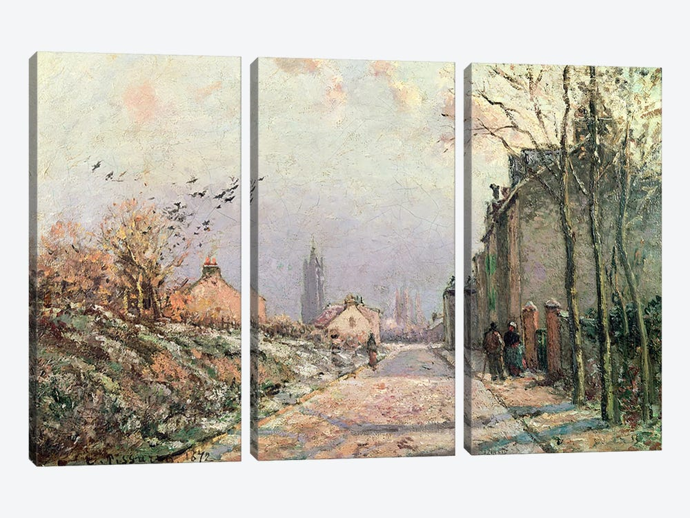 The Road, Effect of Winter, 1872  by Camille Pissarro 3-piece Canvas Art
