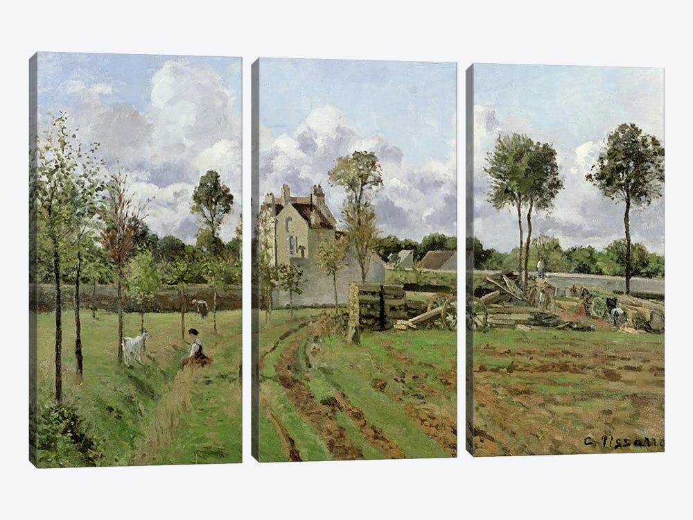 Landscape, Louveciennes, c.1872  by Camille Pissarro 3-piece Canvas Artwork