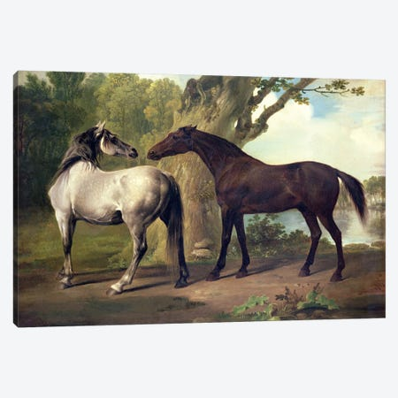 Two Horses in a landscape  3-Piece Canvas #BMN4470} by George Stubbs Canvas Art Print