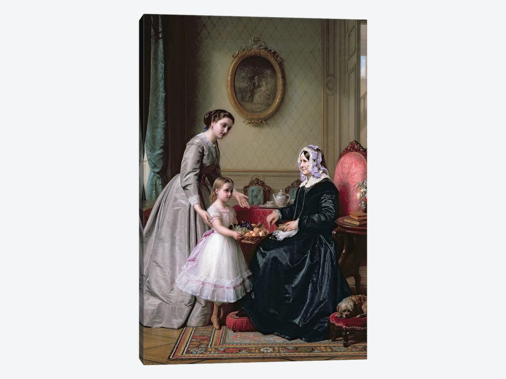 Interior at 'The Chestnuts' Wimbledon, Grandmother's birthday,  by J.L. Dyckmans 1-piece Canvas Art Print