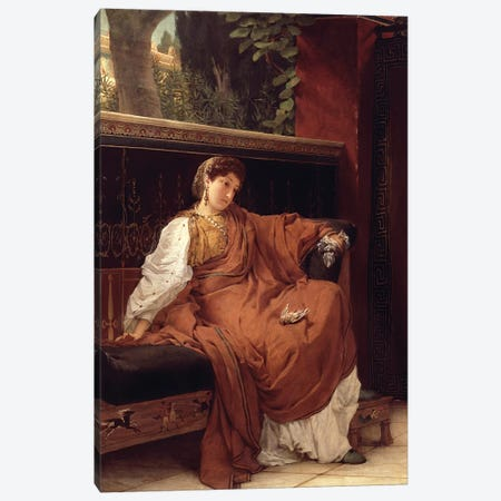 Lesbia Weeping over a Sparrow, 1866  Canvas Print #BMN4477} by Sir Lawrence Alma-Tadema Canvas Artwork