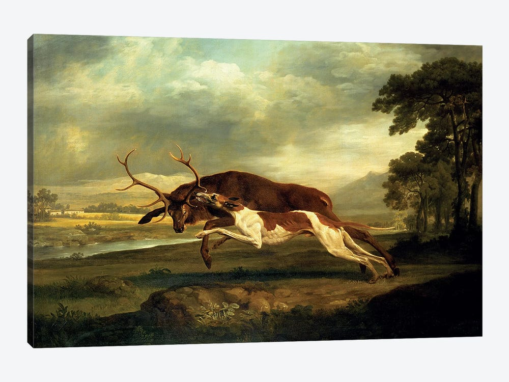 A Hound attacking a stag by George Stubbs 1-piece Art Print