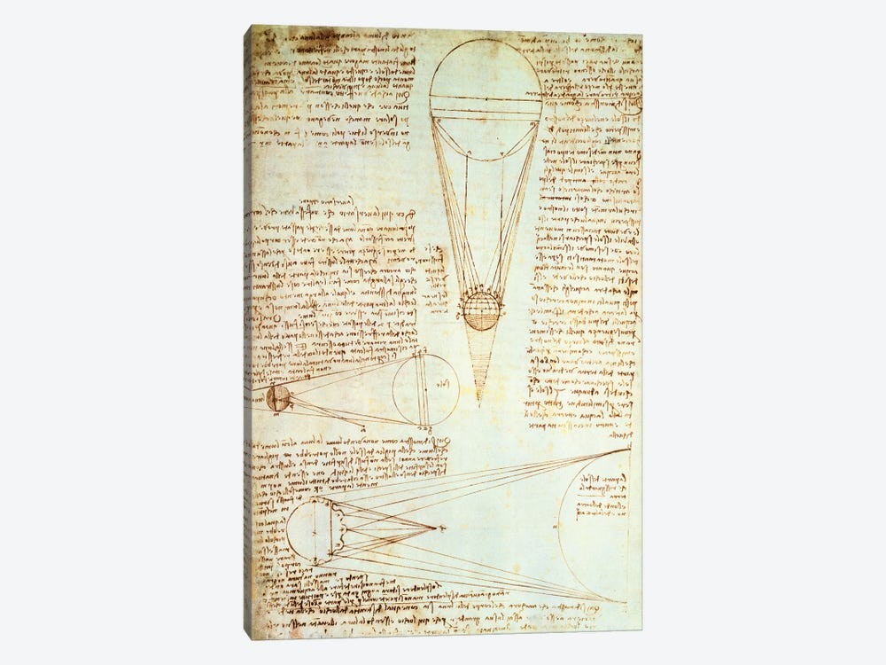 Studies of the Illumination of the Moon, fol. 1r from Codex Leicester, 1508-1512  by Leonardo da Vinci 1-piece Canvas Art