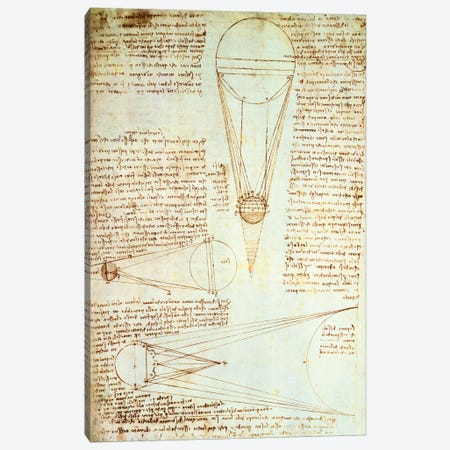 Studies of the Illumination of the Moon, fol. 1r from Codex Leicester, 1508-1512  Canvas Print #BMN4491} by Leonardo da Vinci Canvas Art Print
