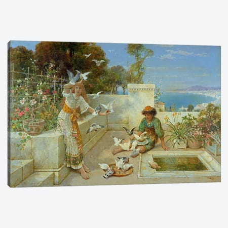 Children by the Mediterranean Canvas Print #BMN4494} by William Stephen Coleman Canvas Artwork