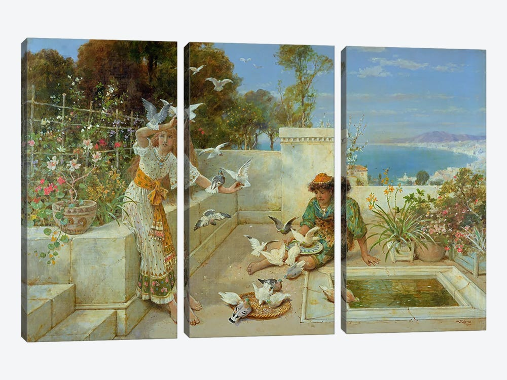 Children by the Mediterranean by William Stephen Coleman 3-piece Canvas Art Print