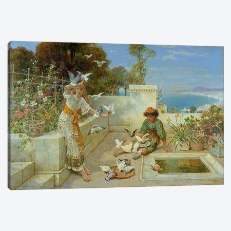 Children by the Mediterranean Canvas Print #BMN4494} by William Stephen Coleman Canvas Artwork