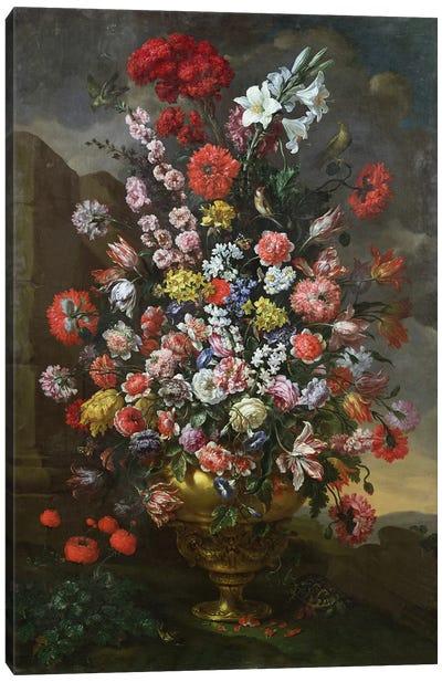 Lilies, tulips, carnations Canvas Art Print