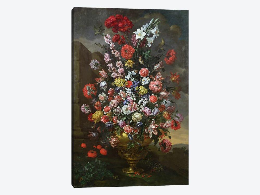 Lilies, tulips, carnations by Bartolomeo Bimbi 1-piece Canvas Wall Art