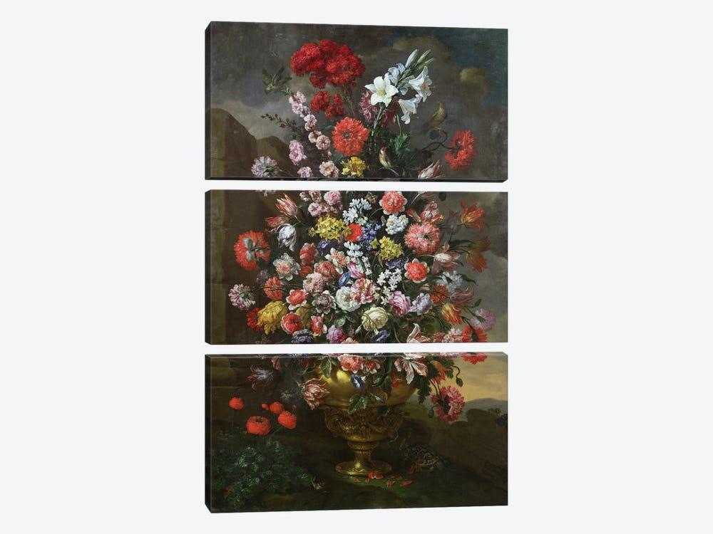 Lilies, tulips, carnations by Bartolomeo Bimbi 3-piece Canvas Wall Art